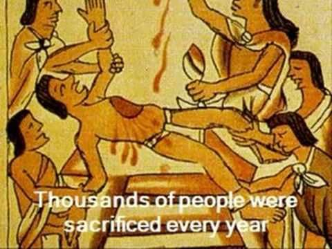Aztecs - Religion And Sacrifice. The video talked about the religion of the Aztecs. The Aztec religion the earth was recreated 5 times, because the gods kept fighting against each other. They also talked about the Gods.