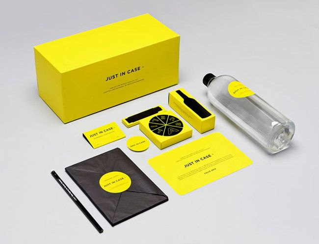 "yellow black branding If 2012 is going to see the end of the world, you may as well go out with some attractive branding! Design studio MENOSUNOCEROUNO created Just In Case, ""an end-of-the-world survival kit"" or ""the perfect brand for the end of times"". The kit contains six iconic products from Mexico including dark chocolate, a classic notebook, a simple knife, 40 black matches, liqueur & a bottle of water. This collection may not ensure long-term survival but you certainly will enjoy…"