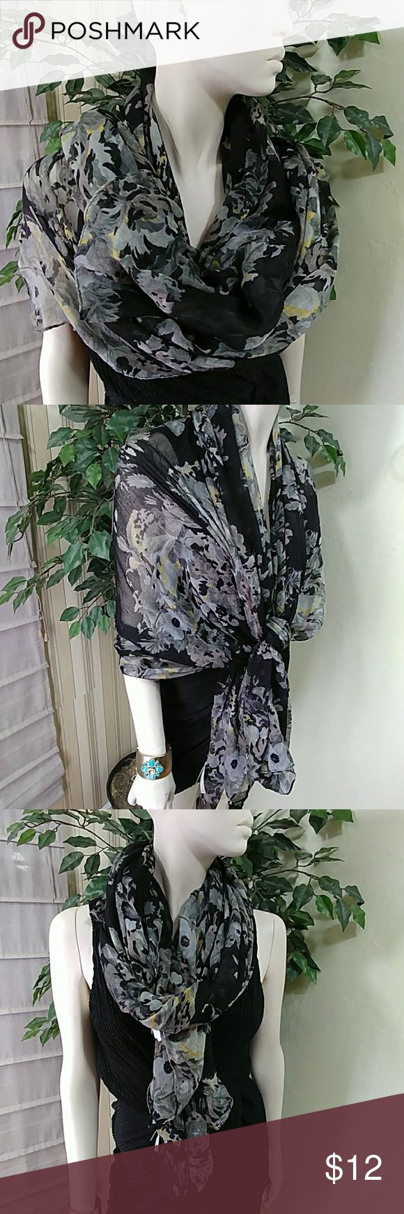 """Charlotte Ruse Floral Blue Scarf Charlotte Ruse Flowery Paisley print  scarf, color blue and grey with small yellow strings, big size 70"""" L x 44"""" W, made of light polyester, great to complement your outfit, comes as a customer return item in good cosmetic condition. Charlotte Russe Accessories Scarves & Wraps"""