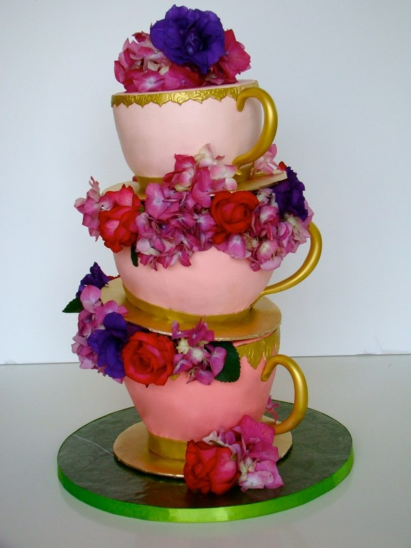 Tea Cups Bridal Shower Cake by The
