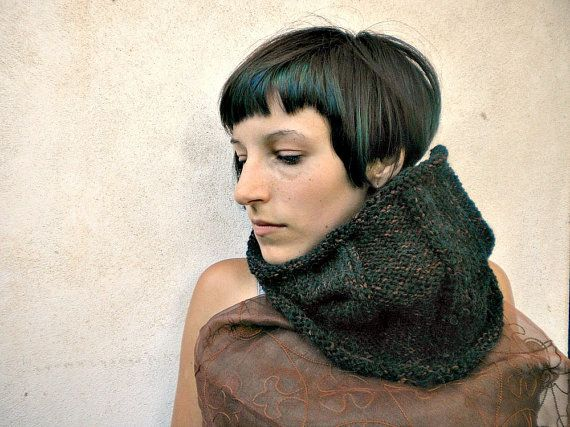 neck cozy hand knitted in brown wool and acrylic rustic by vumap
