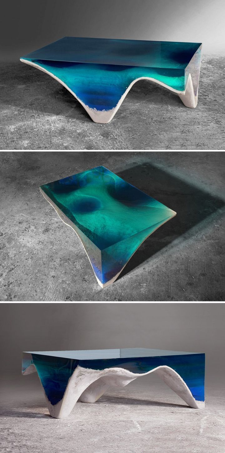 Elegant Marble and Acrylic Glass Table Mimics the Layered Depth of the Ocean Floor