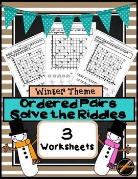 Make math fun with these 3 winter themed worksheets! Each worksheet includes a riddle that is solved by finding the points on the coordinate plane that is provided. Use it for a center or an easy print and go review.