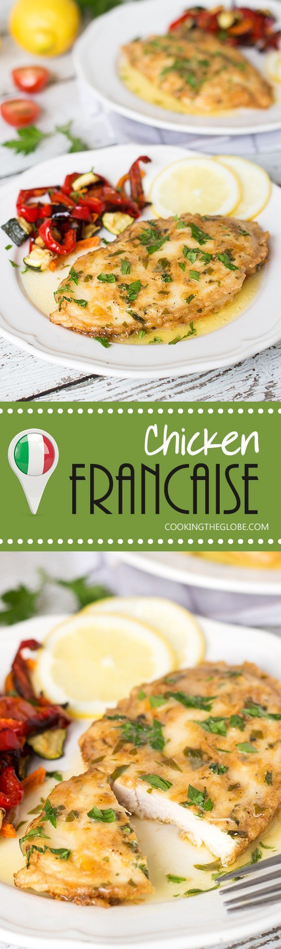 Chicken Francaise is an Italian-American dish consisting of cooked chicken breast cutlets with lemon wine sauce! | http://cookingtheglobe.com