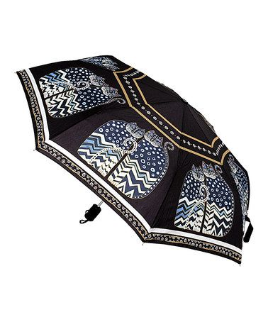 Another great find on #zulily! Black & White Polka Dot Cats Compact Umbrella by Laurel Burch #zulilyfinds