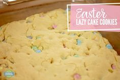 Easter Lazy Cake Cookies -Lazy Cake Cookies - a giant, soft cookie cake that only requires 4 ingredients! It's SO EASY! You can use any cake mix and toppings you want so the possibilities are endless!