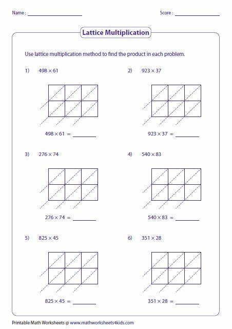 3 and 2-digit: Lattice Multiplication