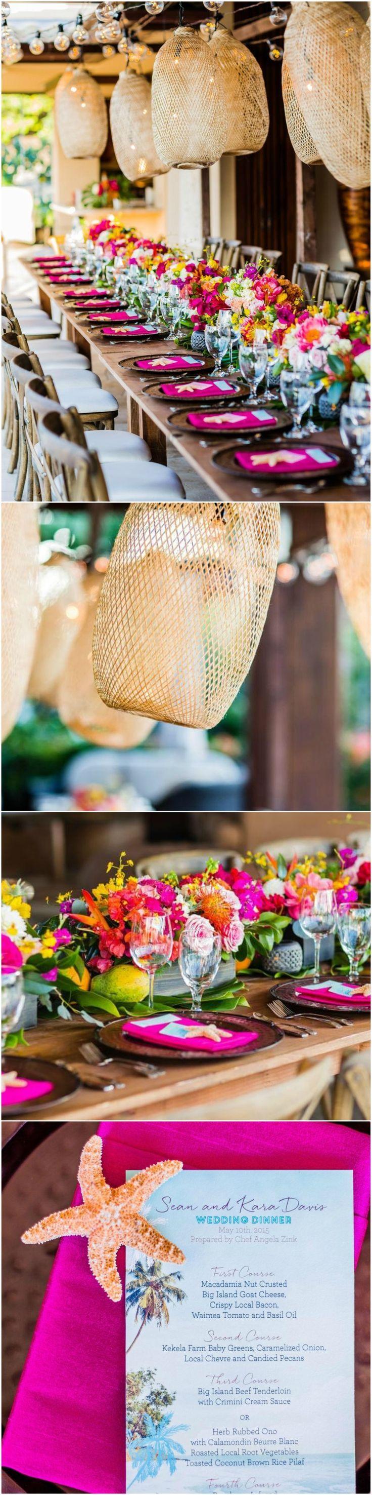 Hot pink linens, wedding reception, starfish, hanging lanterns, Hawaiian  table décor, event design, tropical flowers