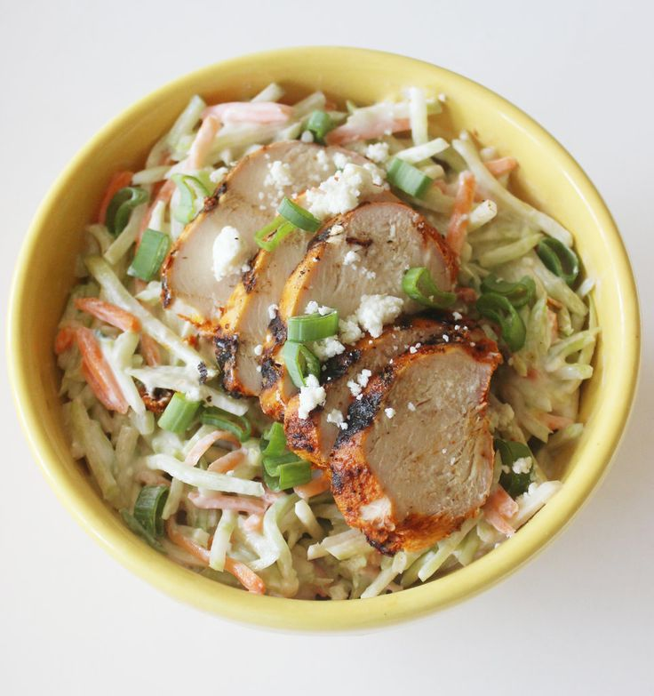 Instead of fatty coleslaw, mix up this lightened-up broccoli slaw salad recipe instead. Served with lean protein like grilled chicken breast, it makes for a low-calorie, filling comfort meal.