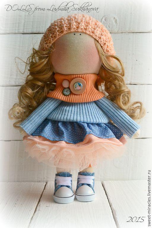 Купить Кукла-малыш Апельсинка - оранжевый, синий, кукла ручной работы, кукла в…