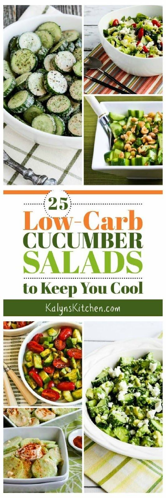 25 Low-Carb Cucumber Salads to Keep You Cool has enough tasty salad ideas with cucumbers that you can try new cucumber salads all summer long. All these low-carb salads are also gluten-free, low-glycemic, and South Beach Diet friendly, and most are also Keto. [found on KalynsKitchen.com]