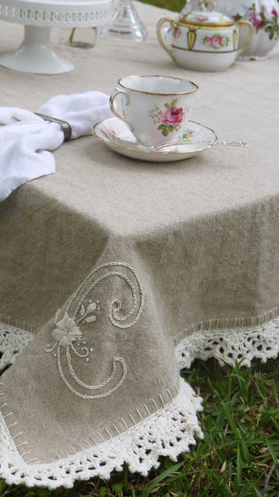 Melody @ The House on the Side of the Hill: shares a link for free instructions for crochet edge on linen at The Domestic Dash
