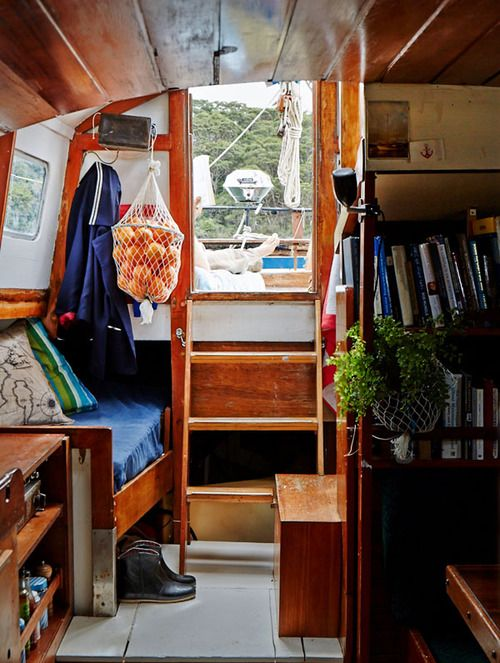 love this sailboat interior: 'Gwen A Du', a sailboat belonging to Sydney  stylist Sophie The and her partner Niki Baillie-Jackson.