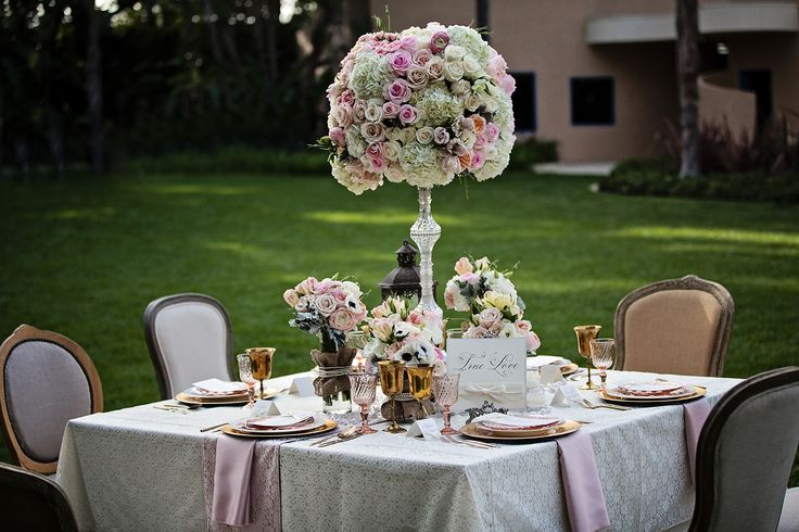 "Gorgeous and romantic ""True Love"" garden table setting #wedding #fairytale"