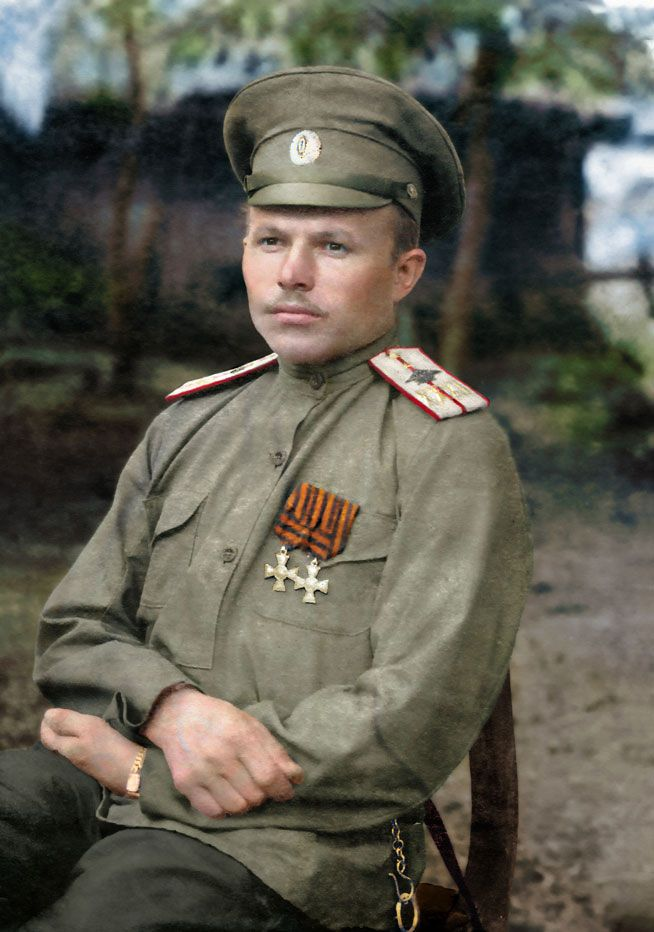 WWI, 1915; Russian military pilot Ensign Vasily Vishnyakov, The first pilot of the lower ranks who was awarded the soldier's George's cross 4-th class, and the first pilot who earned the full bow of St. George. Color by Klimbims