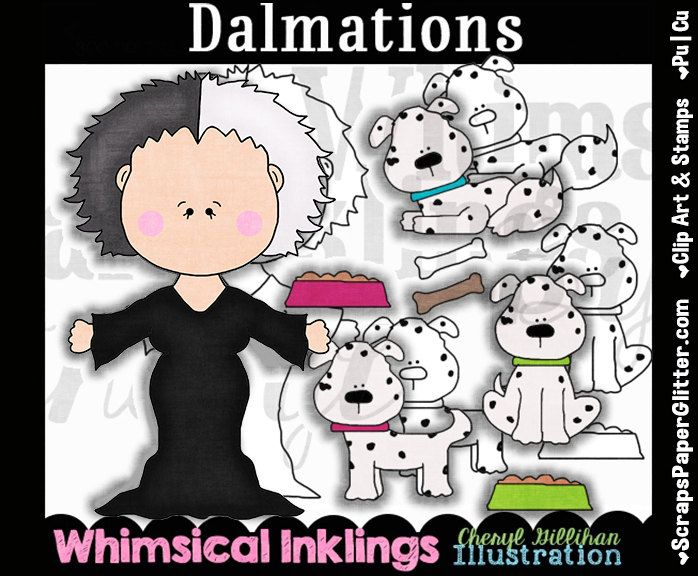 Dalmations Clip Art, BONUS Lineart, Commercial Use, Digital Stamps, Clipart, Black & White, Storybook, 101, Disney Inspired, Cruella De Vil by ResellerClipArt on Etsy