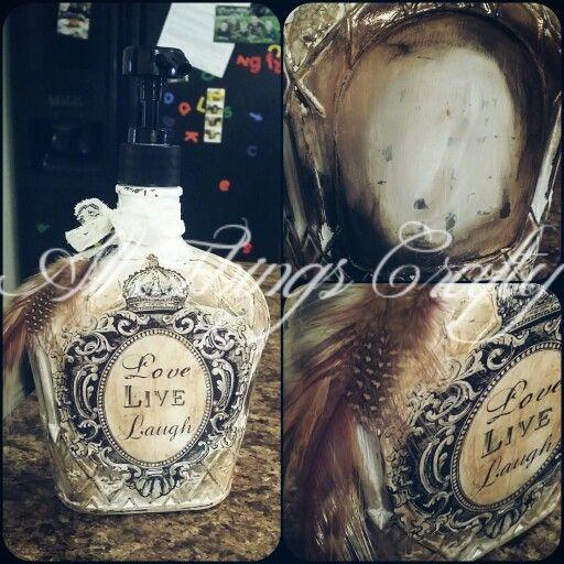 Crown royal bottle decor #crownroyal #gypsy #feather