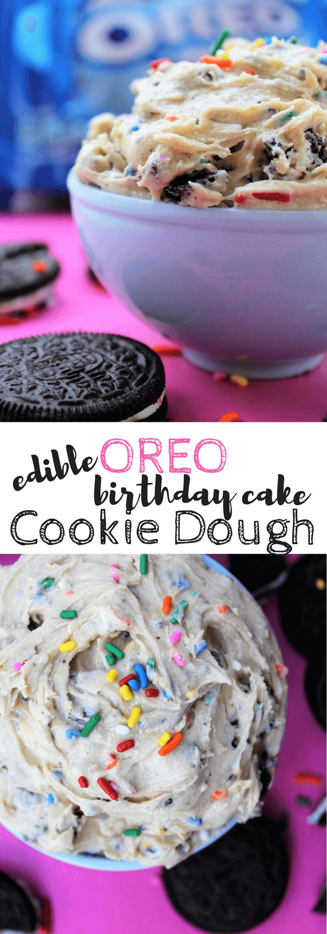 Edible OREO Birthday Cake Cookie Dough is the best of all worlds as far as dessert goes. Delicious cookie dough, crispy bits of Birthday Cake OREO Cookies, and fun sprinkles mixed into a very quick and simple snack. Oh my!