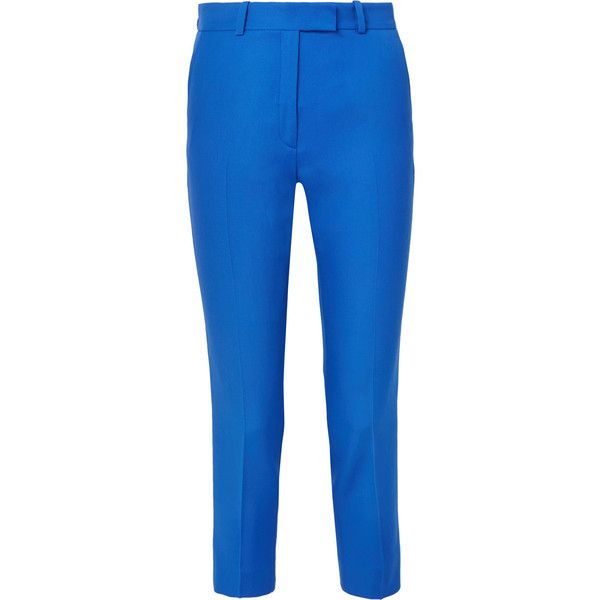 Racil Racil - Aries Striped Wool-piqué Slim-leg Pants - Bright blue ($485) ❤ liked on Polyvore featuring pants, stripe pants, blue striped pants, striped trousers, tuxedo stripe pants and tuxedo pants