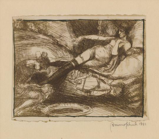 Bruno Schulz (1892-1942), Suzanna at Her Toilette (1921), cliché-verre, with pen and ink border, 10.8 x 8.8 cm. Via Sotheby's.  TRANSISTORADIO