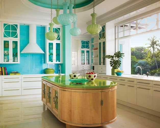 This colorful Captiva Island, Florida home was designed by interior design firm Diamond Baratta and featured in Florida Design magazine. A blend of post-modernism and tropical decor, the home includes a 6,700 square-foot main house, with a 2,400 square-foot two story guest house with two full living/bedroom suites and a gazebo that was constructed on the property.