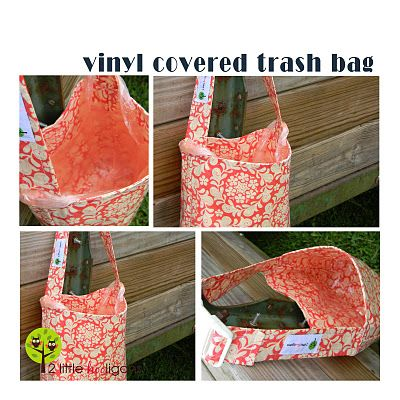 Vinyl Covered Trash Bag {tutorial}- strap unbuckles so you can line it with an upcycled grocery bag!