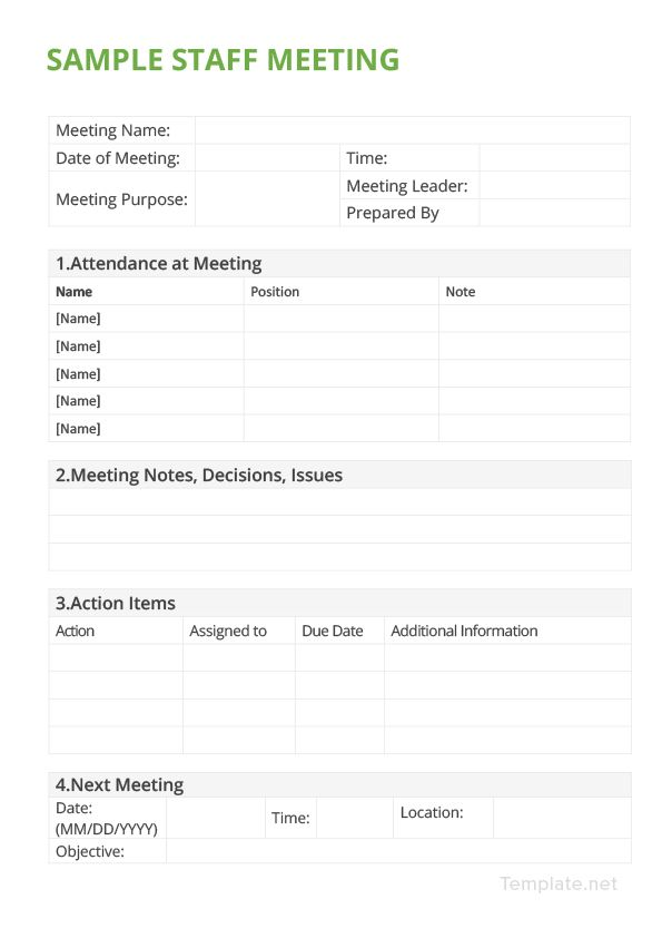 Sample Staff Meeting Minutes Template Pinterest Staff meetings
