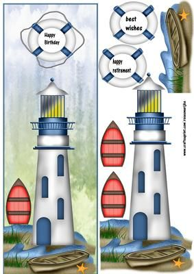 Large DL Male Card Lighthouse on Craftsuprint designed by Marijke Kok - Large DL male Card with a lighthouse,for birthday,retirement,other occasion. - Now available for download!