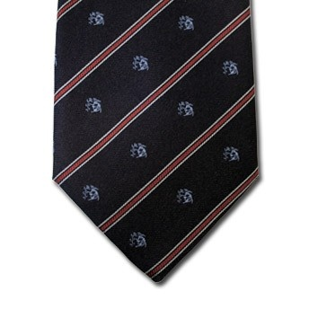 Virgo - Blue pure silk tie with zodiac sign and contrasting stipe, easy to match