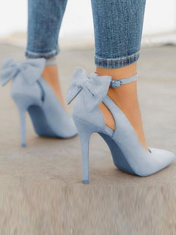 Blue Point Toe Stiletto Bow Fashion High Heeled Shoes Happy Hour Heels Heels Outfits High Heel Shoes