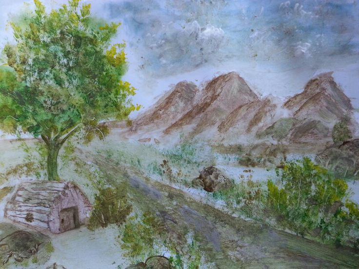 #oilpainting  on paper size 25 by 30 cm #landscape #painting #kamabdul #art #oilcolor #artwork #mountains #trees  #sky #clouds #cottage #driveway #dirt #road #rocks #house