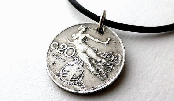 Italian necklace, Coin necklace, Vintage necklace, Leather necklace, Coin jewelry, Italian jewelry, Vintage coins, Upcycled necklace, 1920 by CoinStories on Etsy