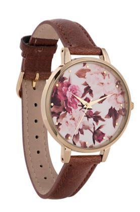 Braune Armbanduhr mit botanischem Muster auf dem Zifferblatt