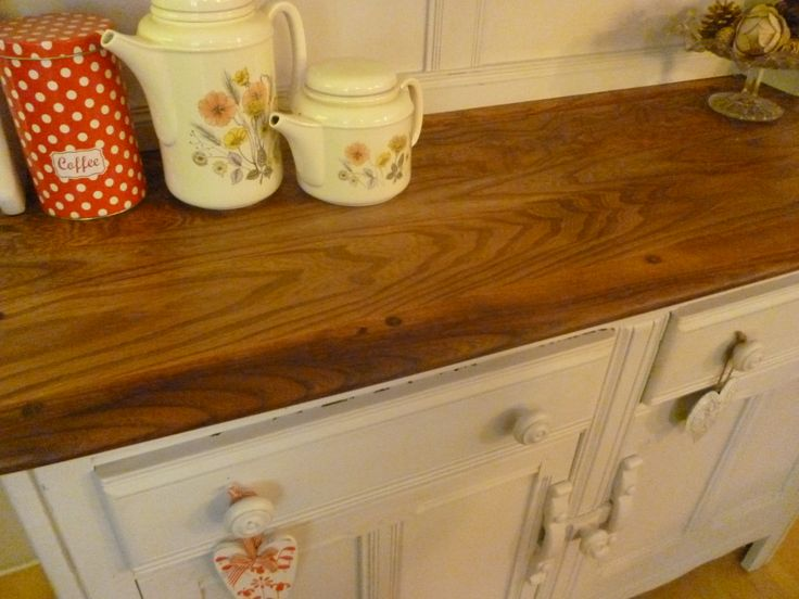Worktop Of Ercol Welsh Dressersanded Down To Reveal Grain And Waxed