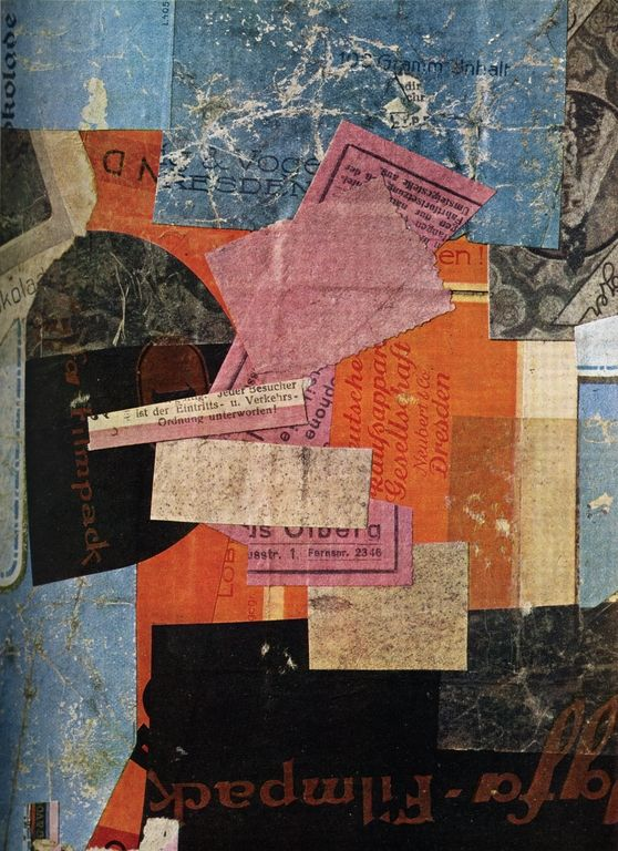Okola - Kurt Schwitters, 1926....something like this would be cool with ticket stubs and sheet music with some pages of old books