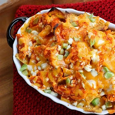 Buffalo Chicken Nachos. Phenomenal combination of 2 awesome game day foods. YES, please.