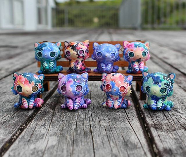 And here are the galaxy tigers! These guys took over a full working day each to make and paint, but getting them all done is extremely rewarding  update happening tomorrow, Monday 11am New Zealand time. FAQ including an idea of prices, materials etc through link on profile  I managed to answer a bunch of DMs last night but there are still a lot I have to get to, if you can get an answer through the FAQ it will help me out immensely!