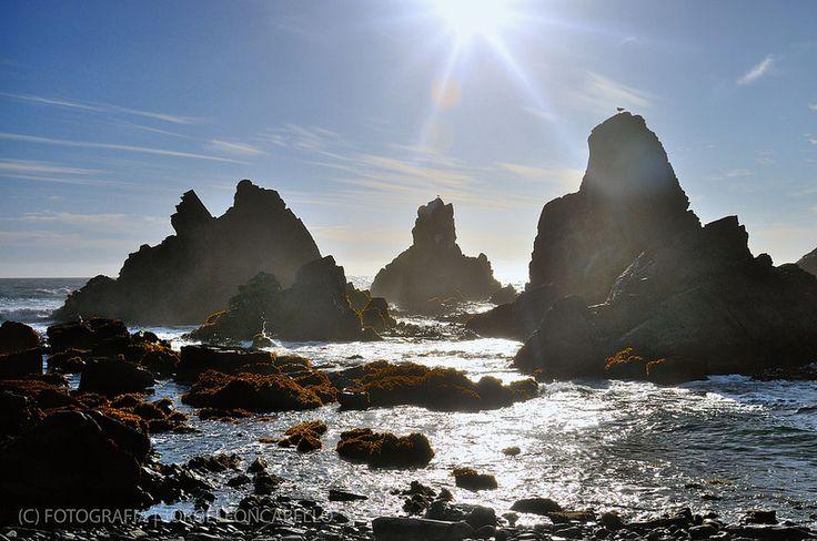 Contraluz monolitos rocosos - Llico Bajo (Patagonia - Chile)