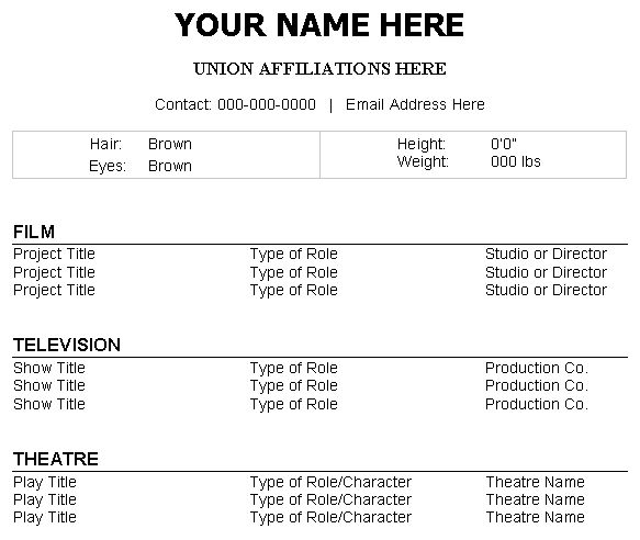 Acting Resume Sample No Experience Acting Resume Template Daily Actor 2017 Resume  Format 27595 .  Acting Resume Format