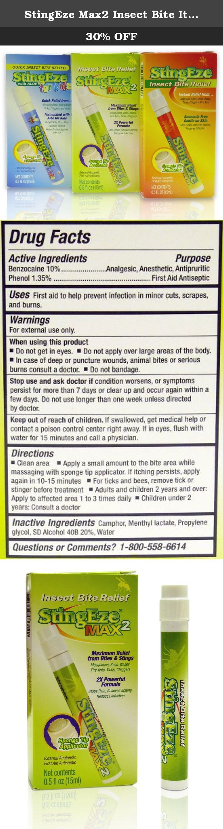 StingEze Max2 Insect Bite Itch Relief Dauber, 0.5-Ounce. Our StingEze Max Insect Bite Relief Dauber offers a triple-action formula that provides fast, effective relief from the pain, itching and infection associated with insect bites and stings. The primary active ingredient in StingEze is the pain reliever Benzocaine, a mild yet effective alternative to ammonia. Ammonia, even in low concentrations, can irritate your eyes, cause your skin to burn or swell, dry out your skin and promote…