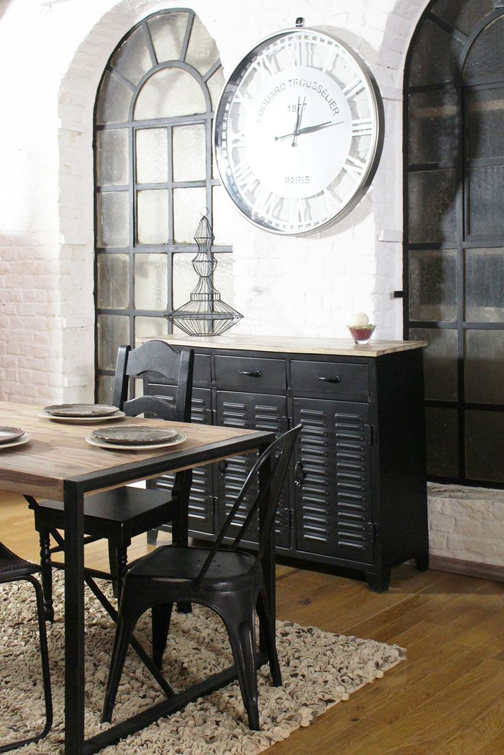 9 best cuisine industrielle images on pinterest kitchen industrial recycled wood and black metal. Black Bedroom Furniture Sets. Home Design Ideas