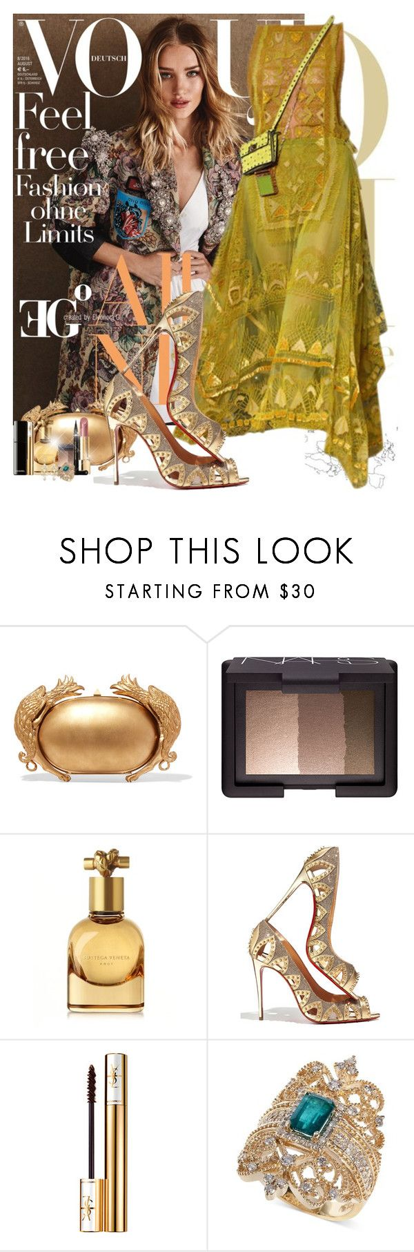 """Cirque de Soleil in Saint Tropez"" by eleonoragocevska ❤ liked on Polyvore featuring Whiteley, Valentino, NARS Cosmetics, Bottega Veneta, Christian Louboutin, Yves Saint Laurent, Chanel, Effy Jewelry and Alexis Bittar"
