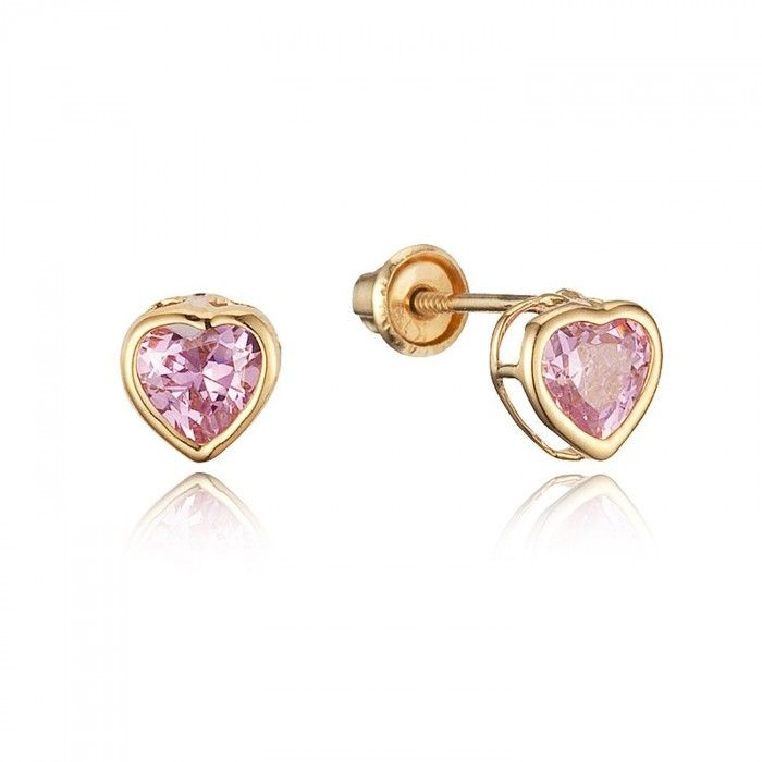 Baby and Children's Earrings: 14k Gold, Pink CZ Hearts with Screw Backs. Baby earrings and kids' earrings from Baby Jewels.
