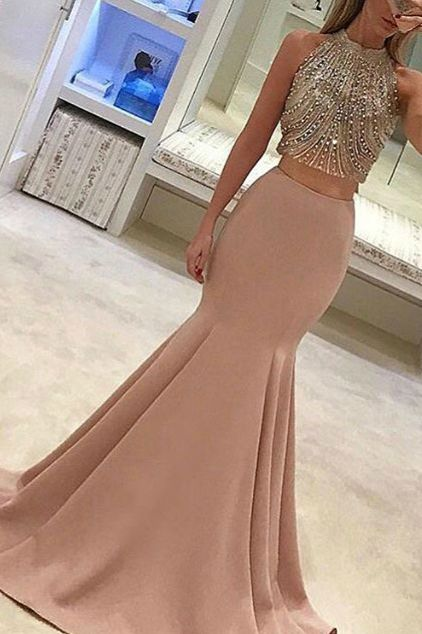 Beaded prom dress, two pieces prom dress, cute champagne chiffon prom dress for teens