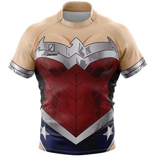 Wonder Woman Rugby Tour Shirt from Scorpion Sports. Themed Rugby Shirt available in both junior and senior sizes