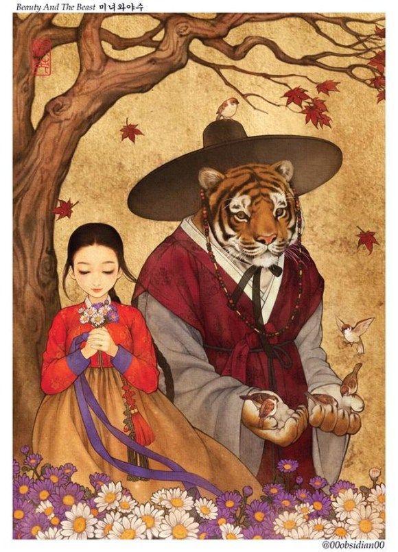"Korean Illustrator Gives an Eastern Take on Western Folktales - Neatorama  ""Beauty and the Beast"""