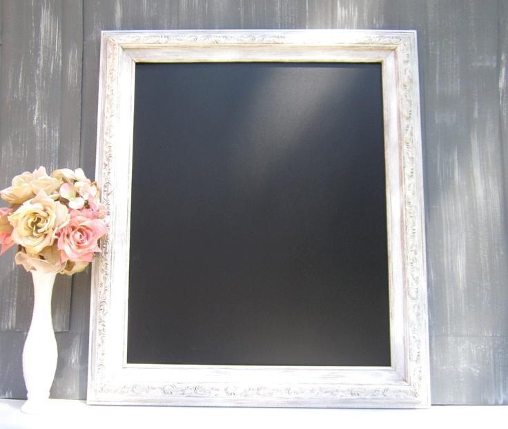 VINTAGE WEDDING IDEAS Chalkboard Sign Wedding Decor Decorations Shabby Chic Kitchen White Framed Chalk board Blackboard Bridal Gift. $129.00, via Etsy.