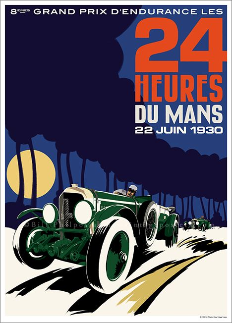 Art Deco Bentley Le Mans poster by Bill Philpot at newvintageposters.com
