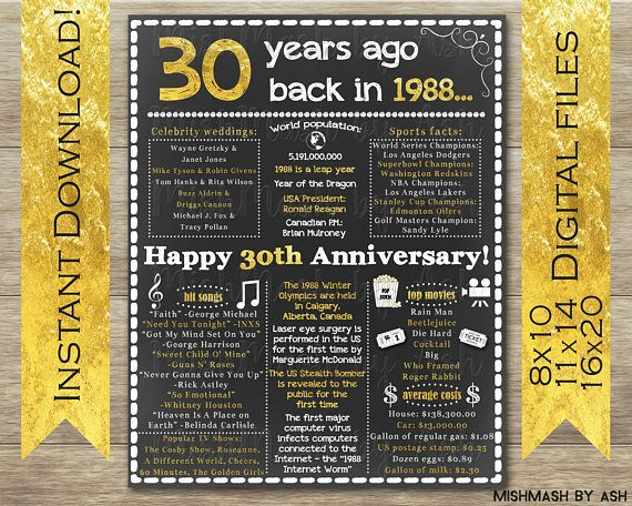 30th Anniversary Party Ideas, 30th Anniversary Gift, 30th Anniversary Decorations, Happy 30th Anniversary mishmashbyash