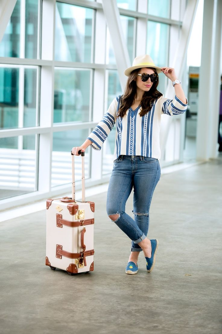 Wearing Elina Lebessi top, Solids pineapple espadrilles and Steamline Luggage for a travel day!
